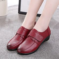 2017 Large size genuine leather Women shoes mother shoes girls lace-up fashion casual shoes comfortable breathable women flats