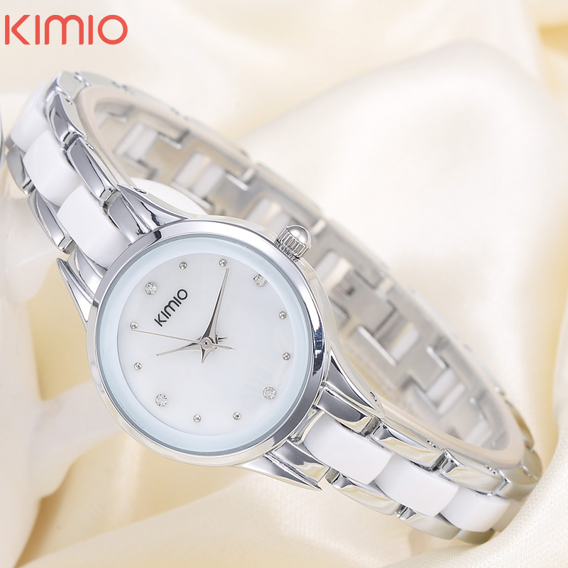 KIMIO Fashion Brand Quartz Watch Waterproof Bracelet Watch For Women Rhinestone Alloy Band Wrist Watch Relogio Feminino 450