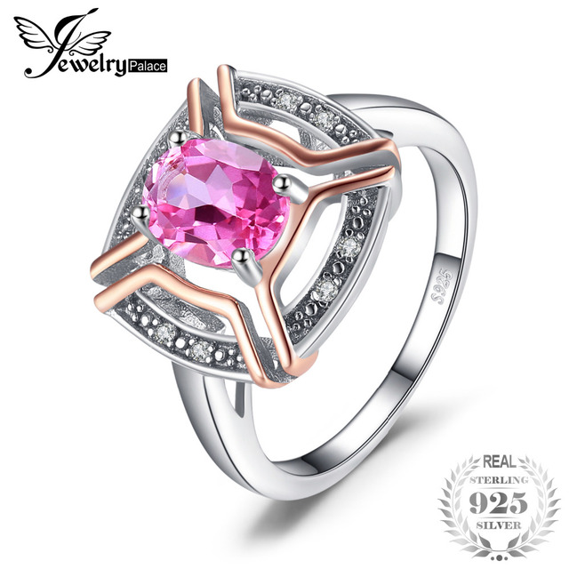 JewelryPalace Classical 1.5ct Oval Shape Genuine Pink Topaz Ring 100% 925 Sterli