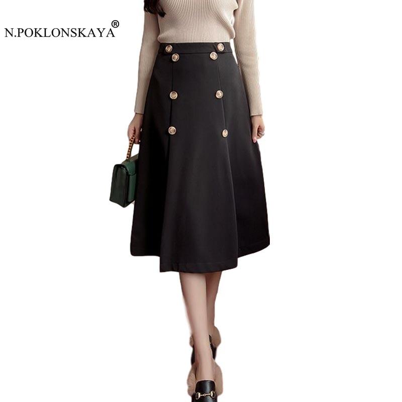 N.POKLONSKAYA 2017 Fashion Women Bottom Long Skirt Buttons Vintage Skirts High Waist A Line Midi Skirt Pleated Autumn Skirts