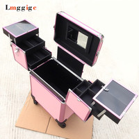 Cabin Cosmetic Bags,Nails Makeup Suitcase with Rolling, Beauty Toolbox ,Travel Box ,Trolley Case with Wheel
