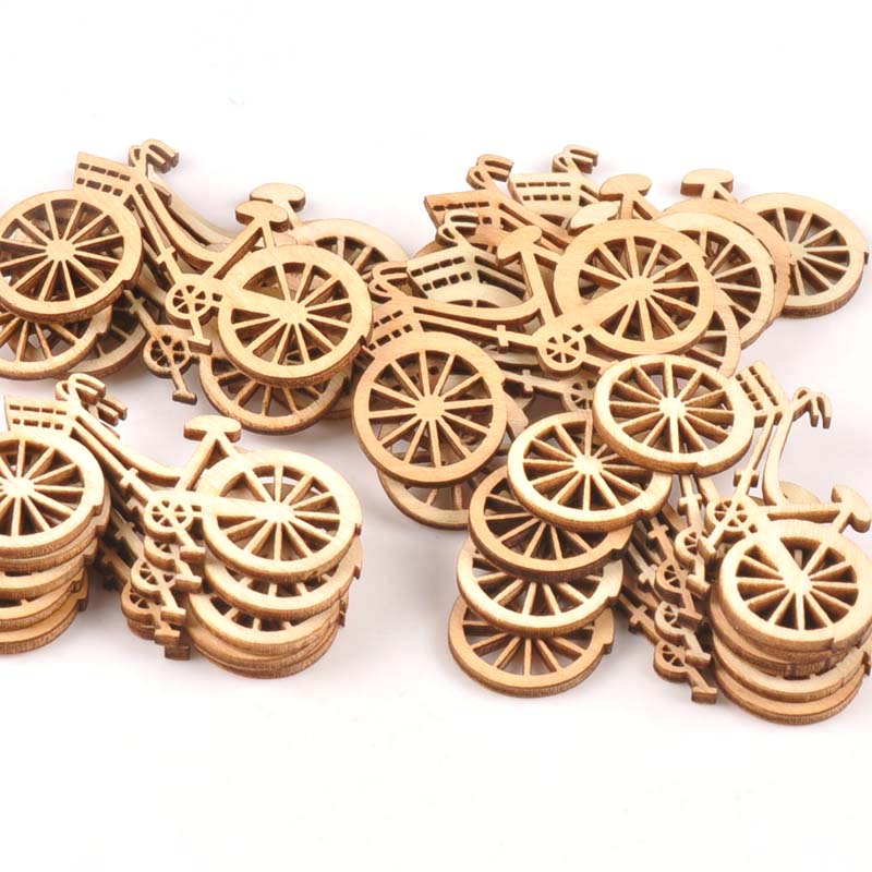 Natural Wood Slices Bicycle Die Cutting Plywood Template Carfts For Home Decoration DIY Wooden Ornament 10pcs/set 45X59mm M0914