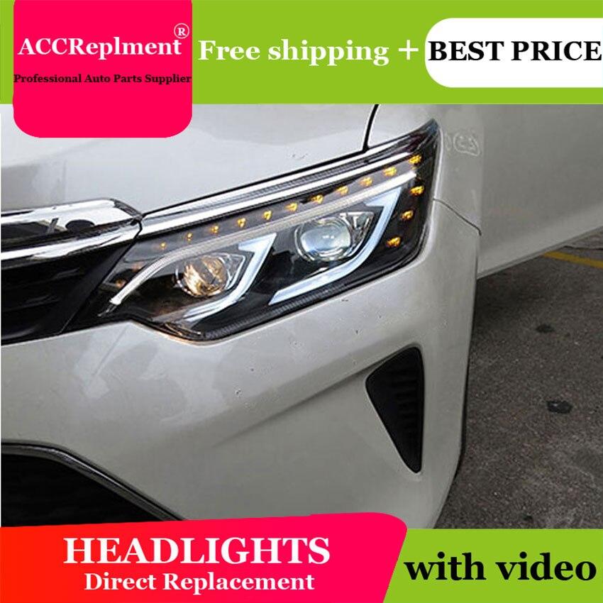 Автомобиль Стайлинг для Toyota Camry V55 светодиодный фар новинка 2015 Camry фары drl Объектив Двойной Луч H7 ксеноновые