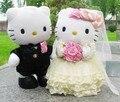 1 Пара Hello Kitty Игрушки Свадьба Пару подарки Hello Kitty Cat Фаршированные Плюшевые Игрушки Мягкие Куклы Подушка Подарок На День Рождения 22-30 СМ