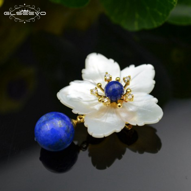 GLSEEVO Natural Mother Of Pearl Flower Brooch Lapis Lazuli Brooches For Women Accessories Dual Use Luxury Fine Jewelry GO0105 glseevo natural lapis lazuli flower brooch pins and brooches for women accessories birthday gifts dual use luxury jewelry go0183
