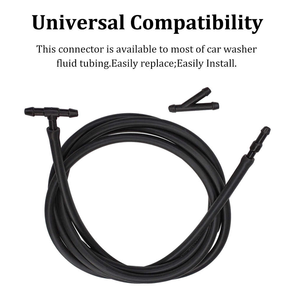 Car Windshield Washer Hose Kit 5m Rubber Universal Windscreen Washer Hose With 30 PCS Hose Connectors Y I T Type Connect Car Water Pump And Nozzles Car Accessories Black