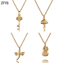 ZFVB New Fashion Trendy Jewelry Dragonfly Dolphin Key Heart Necklaces for Women Stainless Steel Wedding Chokers Necklace