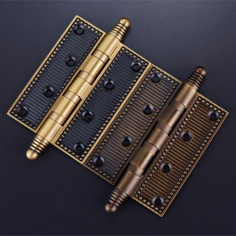 One pair/4 Inch Brass Furniture Hardware Hinges/ 5 inch Mute Door Bearing Hinges With Screws магнитная лента loco