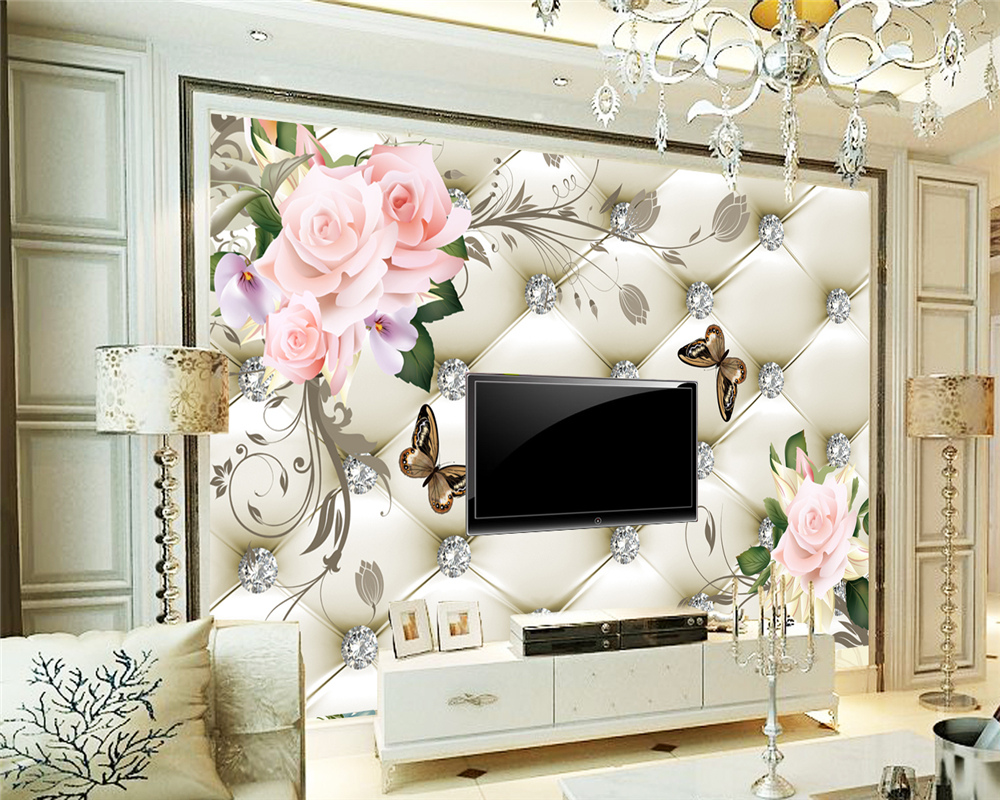 Beibehang Custom Wallpaper Home Furnishings Mural Soft Bags Flower Trench Living Room Bedroom TV Murals Wallpaper For Walls 3 D