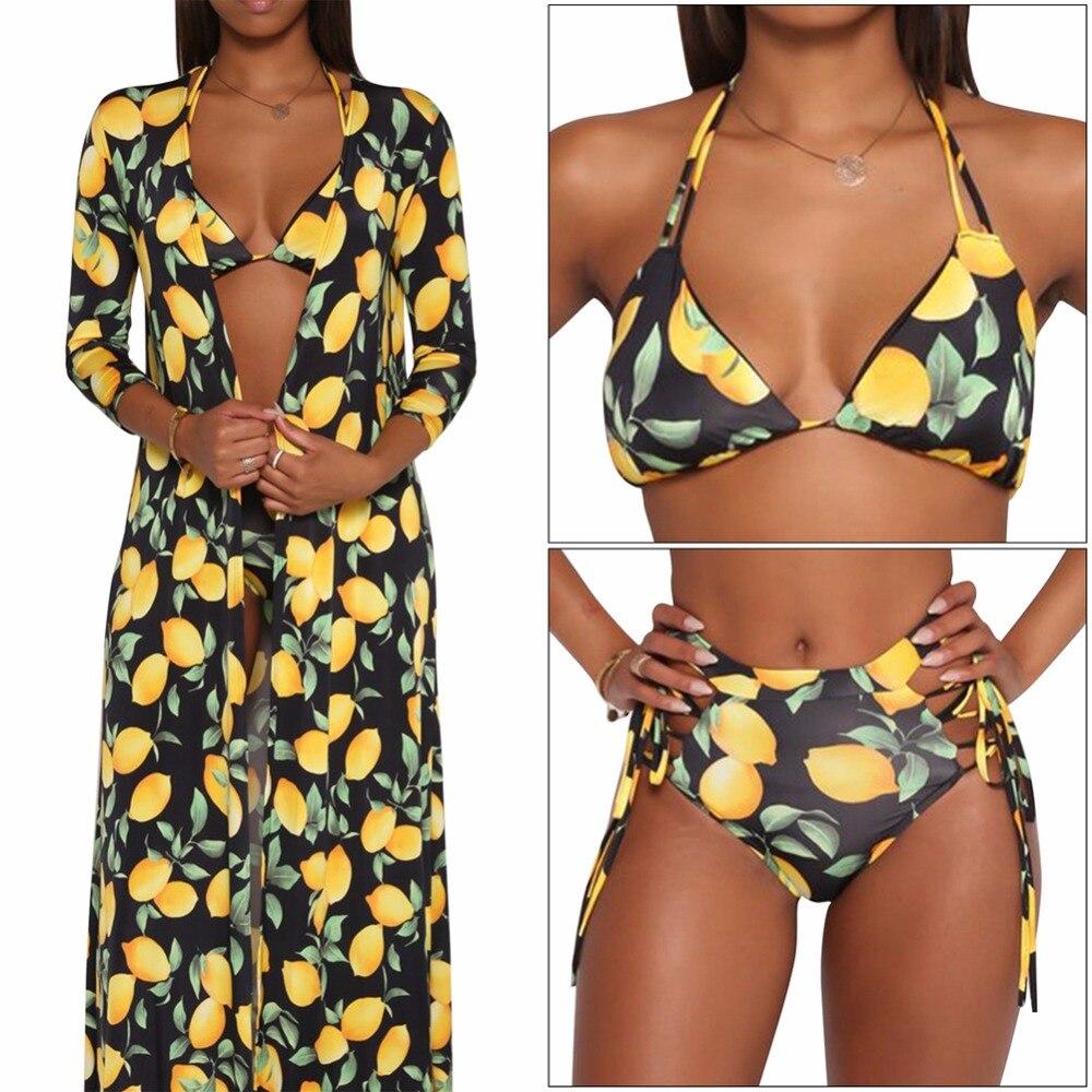 все цены на 3pc Sexy bikini women swimsuit high waist bathing suit halter push up bikini top+adjustable bottom+pareo beach cover up swimwear онлайн