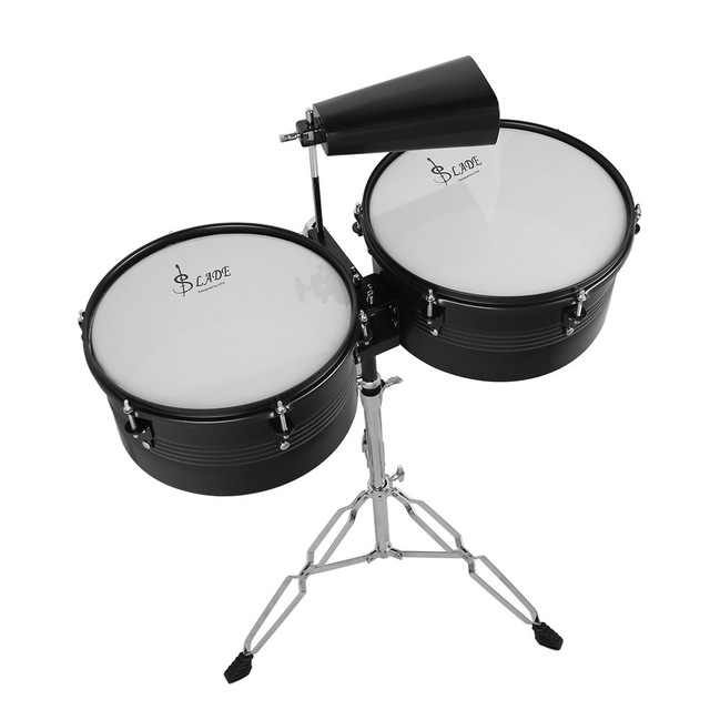 """13"""" & 14"""" Timbales Drum Set With A Premium Steel Cowbell A pair of Drum Sticks and Cowbell Holder High Quality Training Drum"""