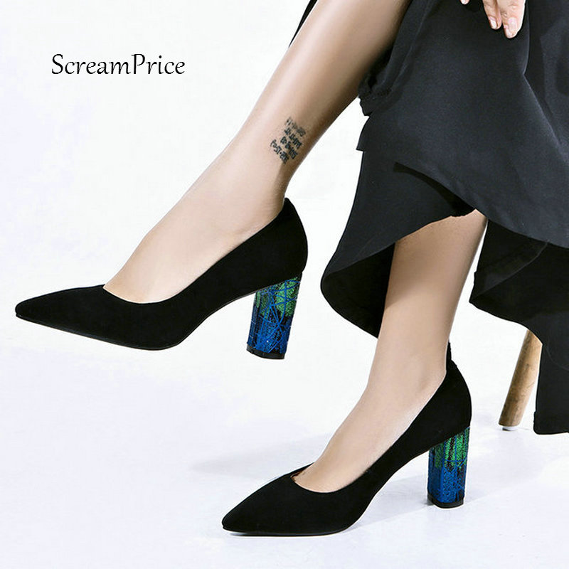 For Lady Suede Thick High Heel Bling Slip On Lazy Shoes Fashion Shallow Pointed Toe Women