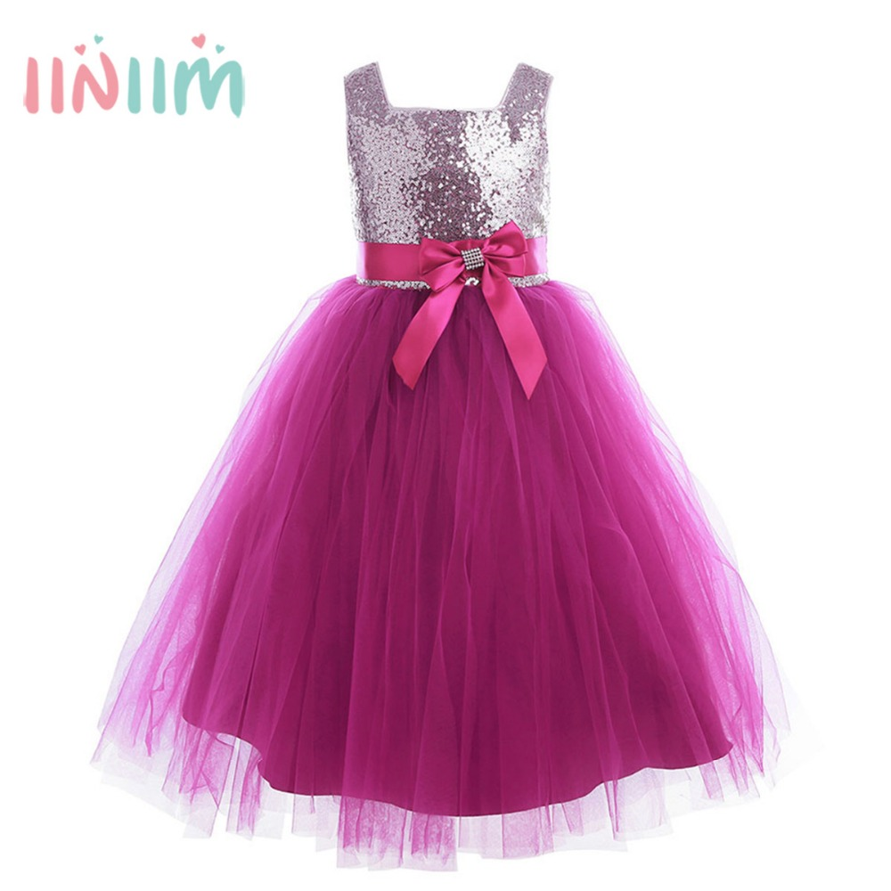 Children Sleeveless Sequins Tulle Ball Gown First Communion Girls Dress Princess Dresses Wedding Bridesmaid Birthday Party Dress стоимость