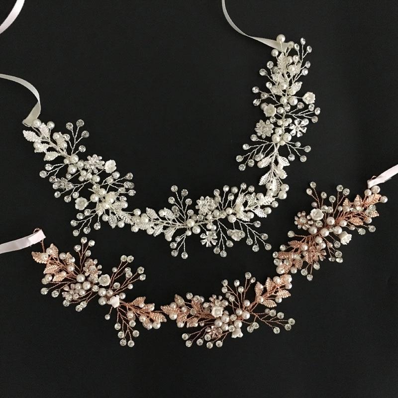 Gorgeous Rose Gold Crystal Rhinestone Pearls Floral Wedding Hair accessories Hairband Bridal Headband Bridesmaids Jewelry Women pair of gorgeous rhinestoned floral jewelry earrings for women