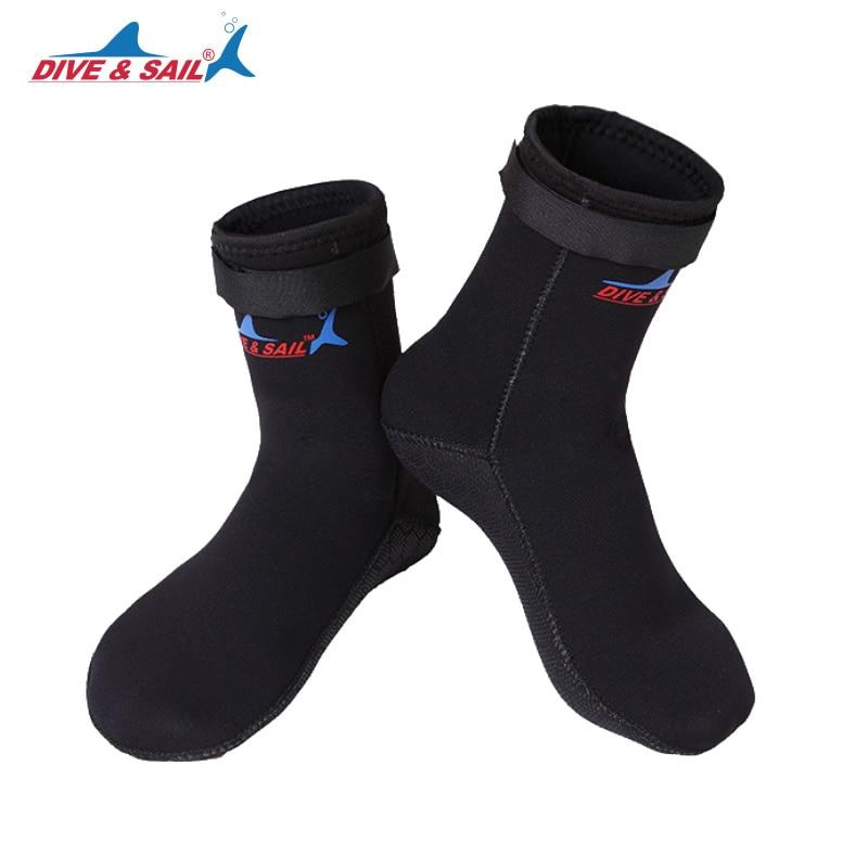 Неопреновые носки для дайвинга и Паруса 3 мм, Нескользящие зимние водонепроницаемые спортивные ботинки для сноркелинга, серфинга, плавания