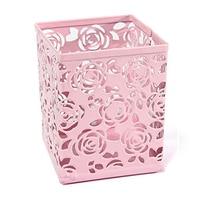 5 gói Hollow Rose Flower Kim Loại Văn Phòng Chủ Bút Bàn Container Trường Hợp