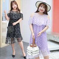 New arrival lace dress women elegant summer Mid Calf Slash neck sweet dress women plus size 4XL Light purple black ladies dress