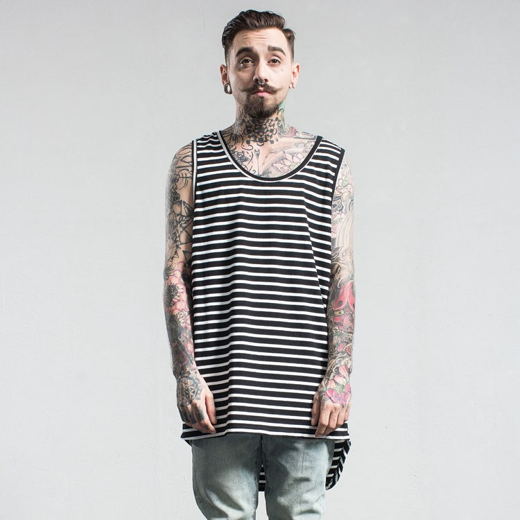 Aolamegs Tank Tops Men Extended Black White Striped Tee Sleeveless T Shirts Homme 2017 Spring Summer Hip Hop Fashion Streetwear (18)