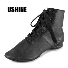 Black high quality genuine leather Jazz dance shoes woman/zapatos de baile latino mujer/free shipping