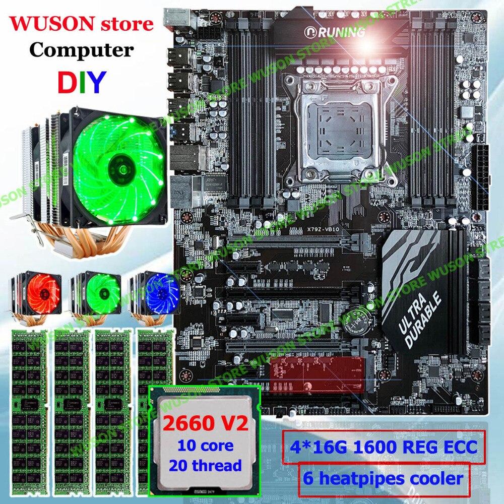 купить Computer DIY Runing Super ATX X79 motherboard processor Xeon E5 2660 V2 memory 64G(4*16G) 1600 DDR3 REG ECC 6 heatpipes cooler по цене 44609.08 рублей