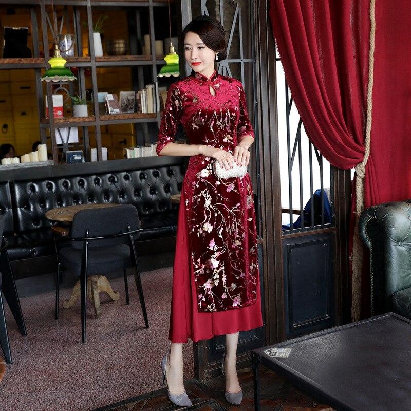 Bourgogne Longue Courtes M Nouveauté 8602 Qipao Manches Main Imprimée 3xl Bouton Robe Fait Vietnam Dai Couture Velours Ao Haute Vintage F5w6xqpZcx