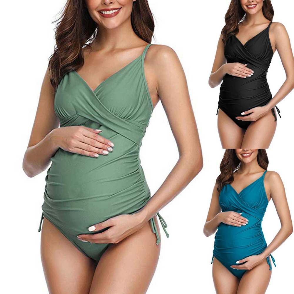 Summer Maternity Swimwear Women Solid Printed Bikinis Swimsuit Beachwear Pregnant Suit Swimsuit Bathing Suit Beachwear For Women
