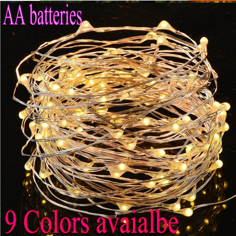 AA Battery Powered Led String Lights RGB Cold Warm White 10M 5M 2M 3M Christmas Wedding Party Decorative Silver Wire Fairy Light