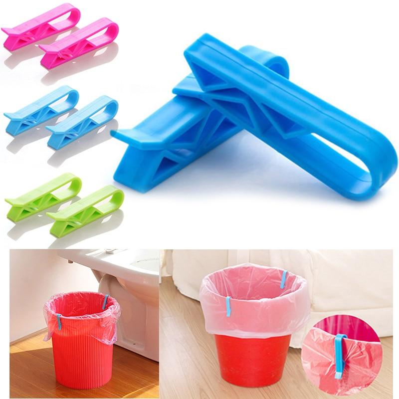 Liplasting 2pcs Kitchen Magic Trash Can Non-Slip Seal Clips Dustbin Garbage Bin Clip color random