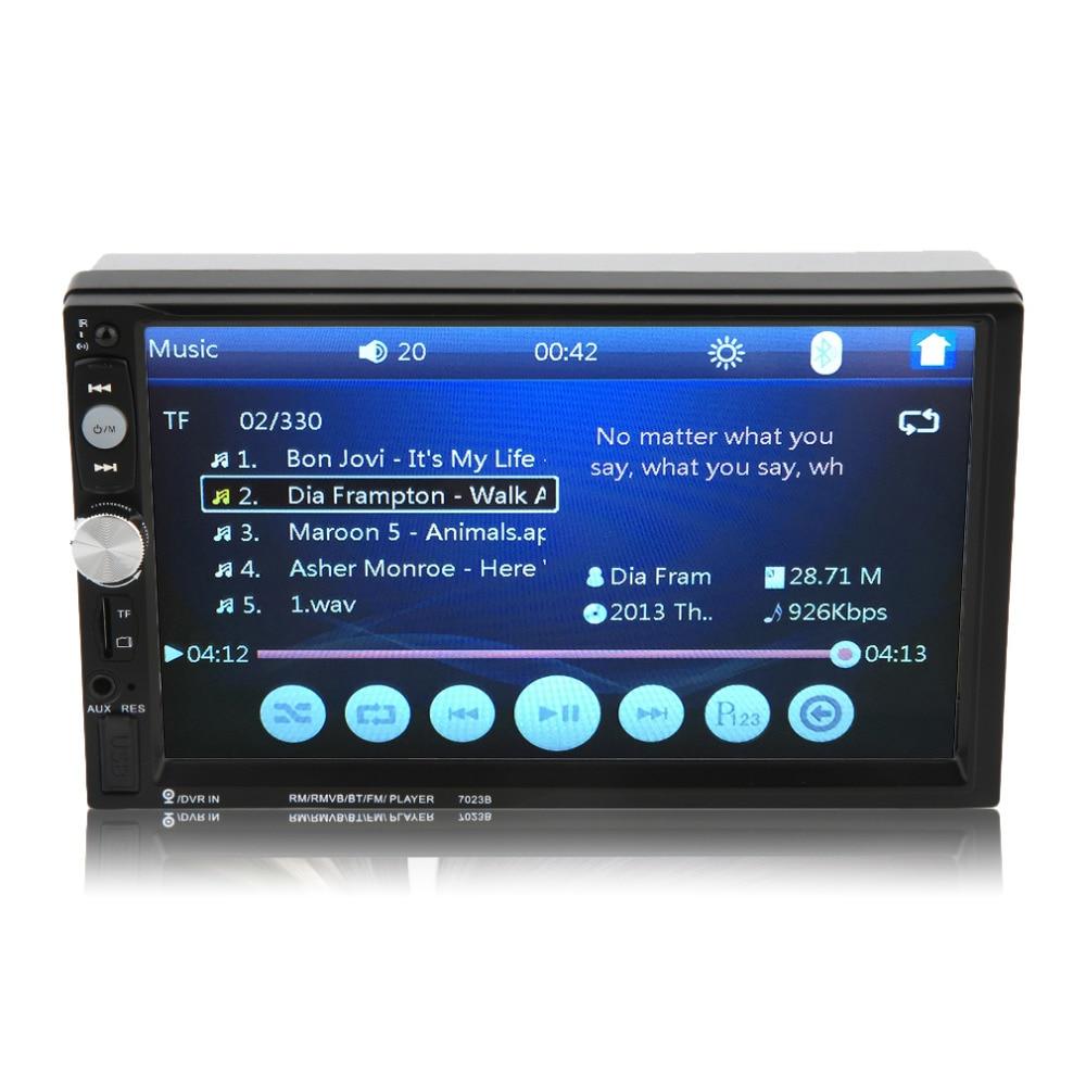 ФОТО 2016 New 7023B Auto Car 2 Din Car DVD Player 7 Inch Touch Scrren Radio Bluetooth Player Rear View Camera Input