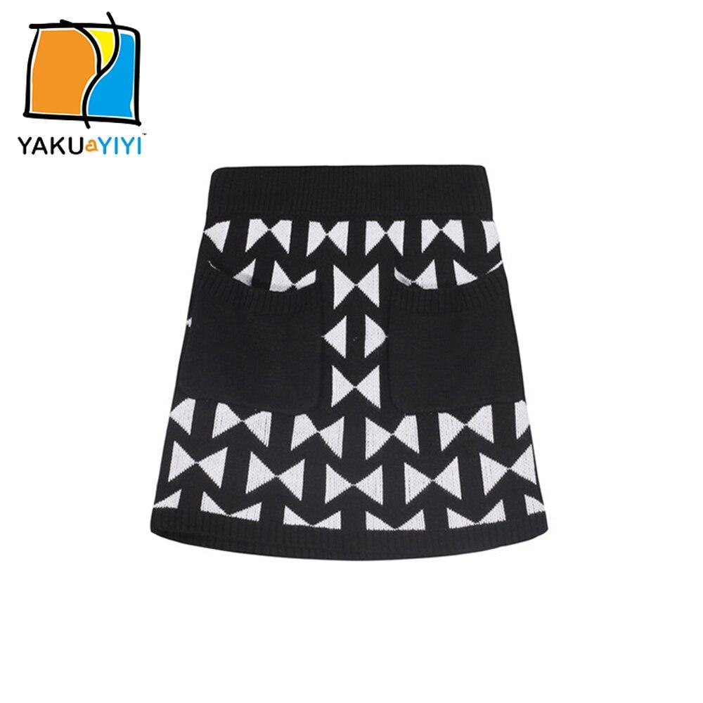 Ykyy yakuyiyi כיסים double טלאי חצאית שחור לבן בנות בייבי בנות חצאית סרוג רך ילדי בגדי ילדה חצאית