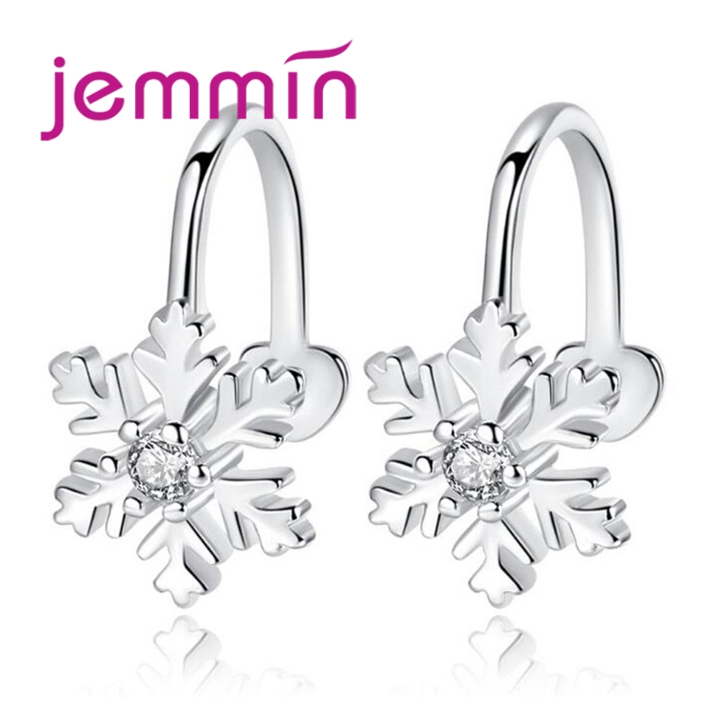 Just Jemmin Exquisite Solid Snow Flake Shape Female 925 Sterling Silver Elegant Piercing Girls Party Sweet No Hole Ear Clip Wholesale
