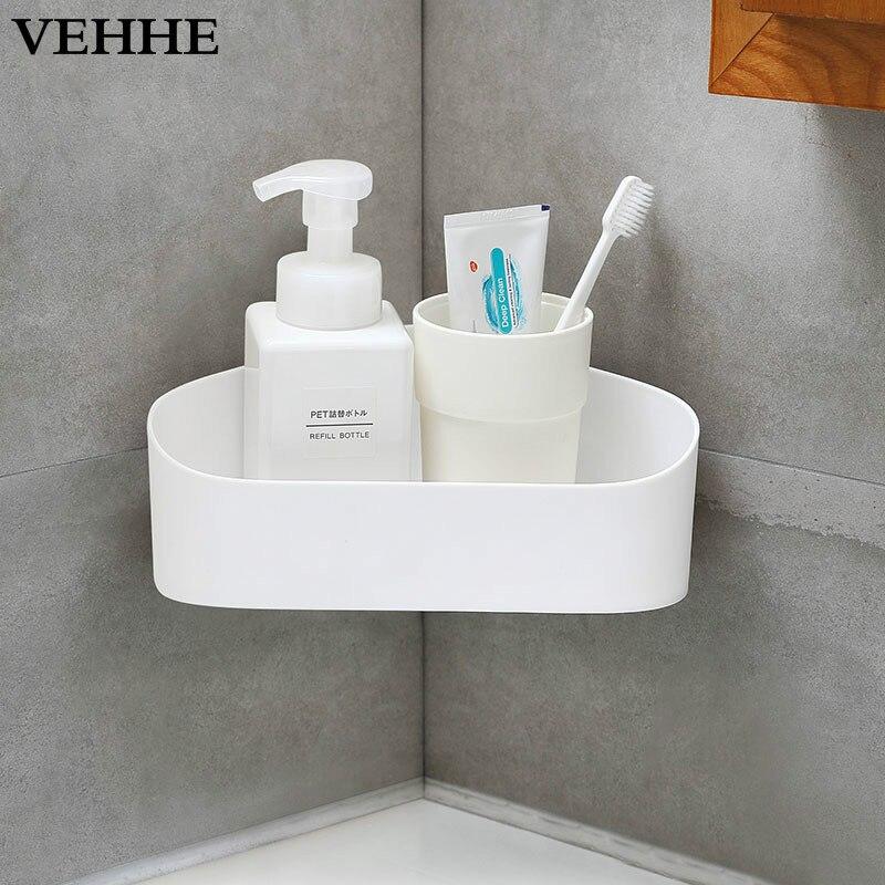 VEHHE Bathroom shelf Wall Mounted No Drilling Storage Holder Racks 4 Colors Paste Installation Storage Box PP Material Shelve