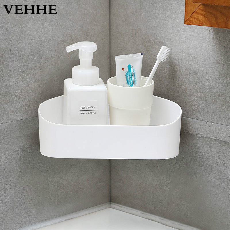 VEHHE Multifunction Bathroom corner shelf PP Wall Mounted No Drill Storage Holder Racks Paste Install Storage PP Material Shelve