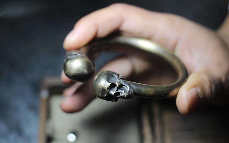 Винтажный браслет с черепом, высокое качество, дизайн 80*78 мм, браслет со скелетом для мужчин, для мужчин, в стиле панк-рок, S925, ювелирное изделие, подарок DHL