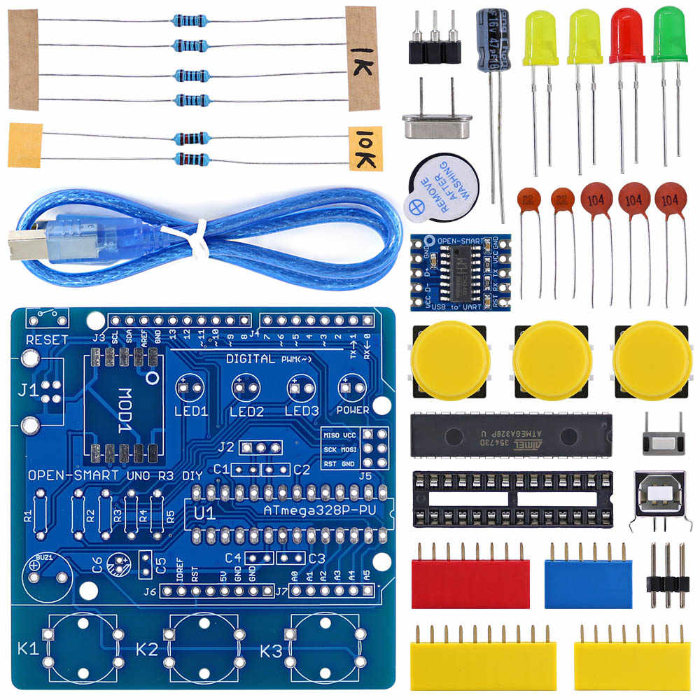 OPEN-SMART UNO R3 DIY ATmega328P Development Board CH340 Driver Soldering Parts Kit with Buzzer LED Button for Arduino UNO R3 -B