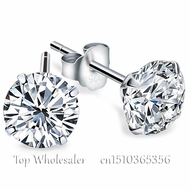 e08aca3abf89 Aretes de plata esterlina genuina 925 con imitación de diamantes corte  circonio cubico para damas y