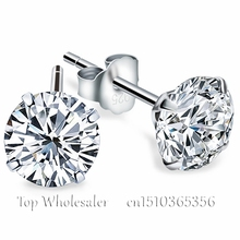 Genuine 925 Pure Sterling Silver Wedding Engagement White Clear Black Cubic Zirconia Stud Earrings For Women Men Fashion Jewelry