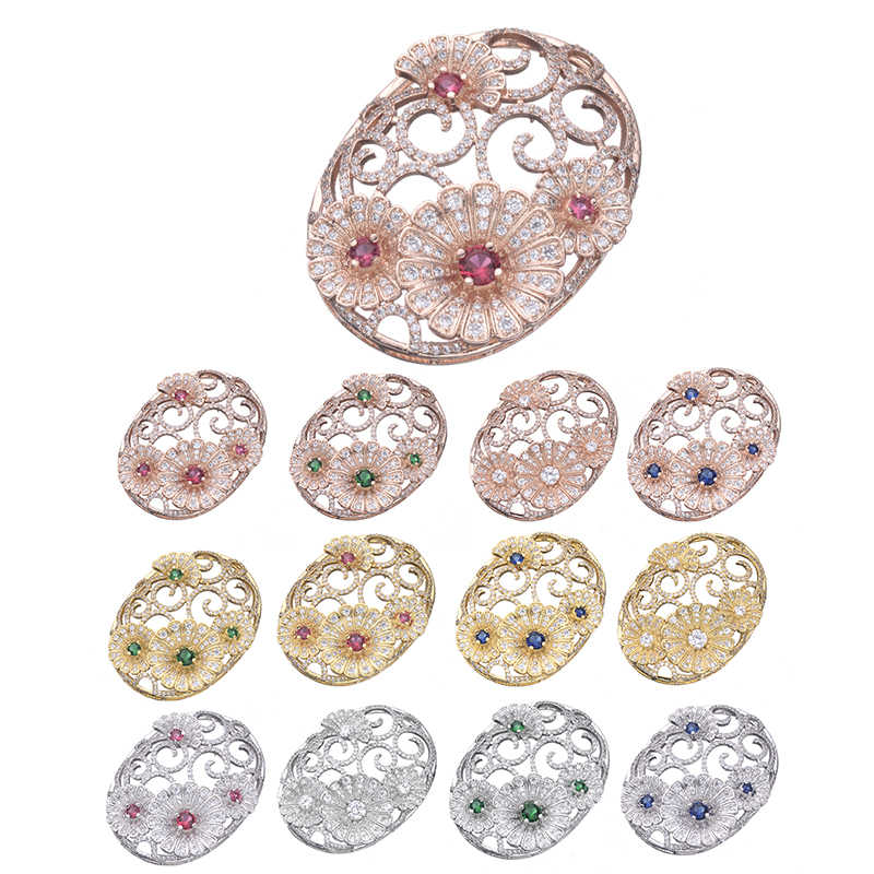 Luxury Jewelry Making Supplies High Quality Copper AAA Cubic Zirconia Stone Big Flower Pendant Connectors For Jewelry Making