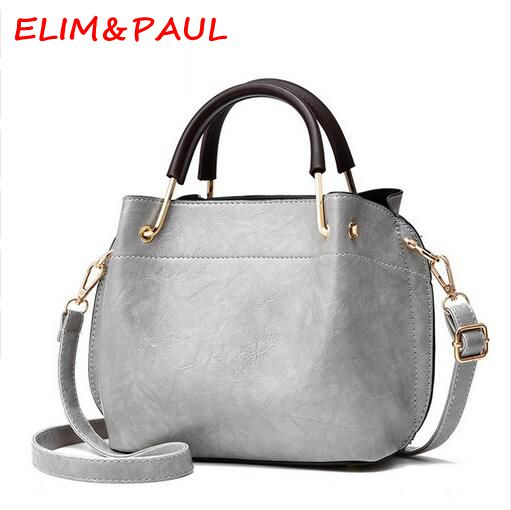 ELIM&PAUL Women's Shoulder Bags High Quality Pu Leather Shoulder Bag Female Casual Tote Pink Grey Red Green Ladies Hand bags elim