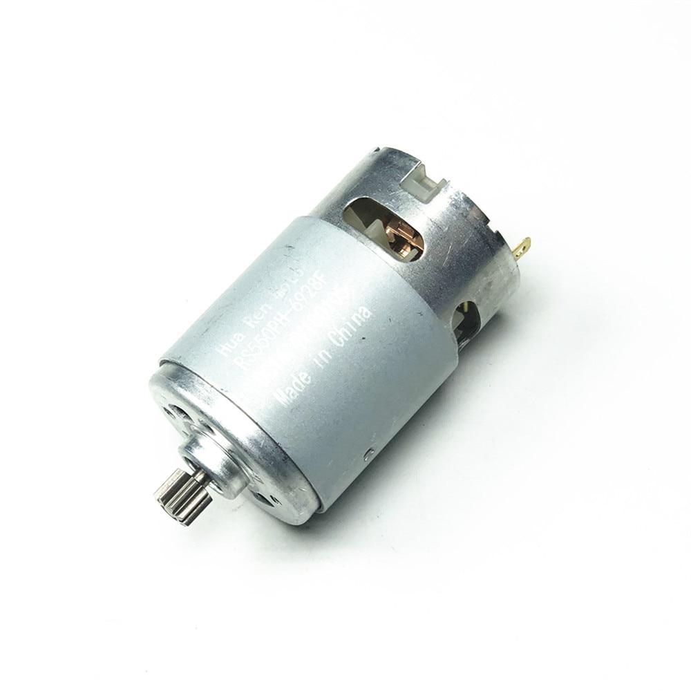 Rs550 motor 17 14 15 12 dentes 9 dentes 7.2 9.6 10.8 12 v 14.4 v 16.8 v 18 21 v 25 v engrenagem 3 mmshaft para chave de fenda de broca de carga sem fio