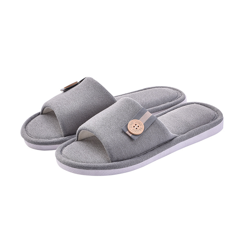 Autumn and winter new cotton slippers female home indoor non slip thick bottom floor bow couple slippers wear soft bottom drag in Slippers from Shoes