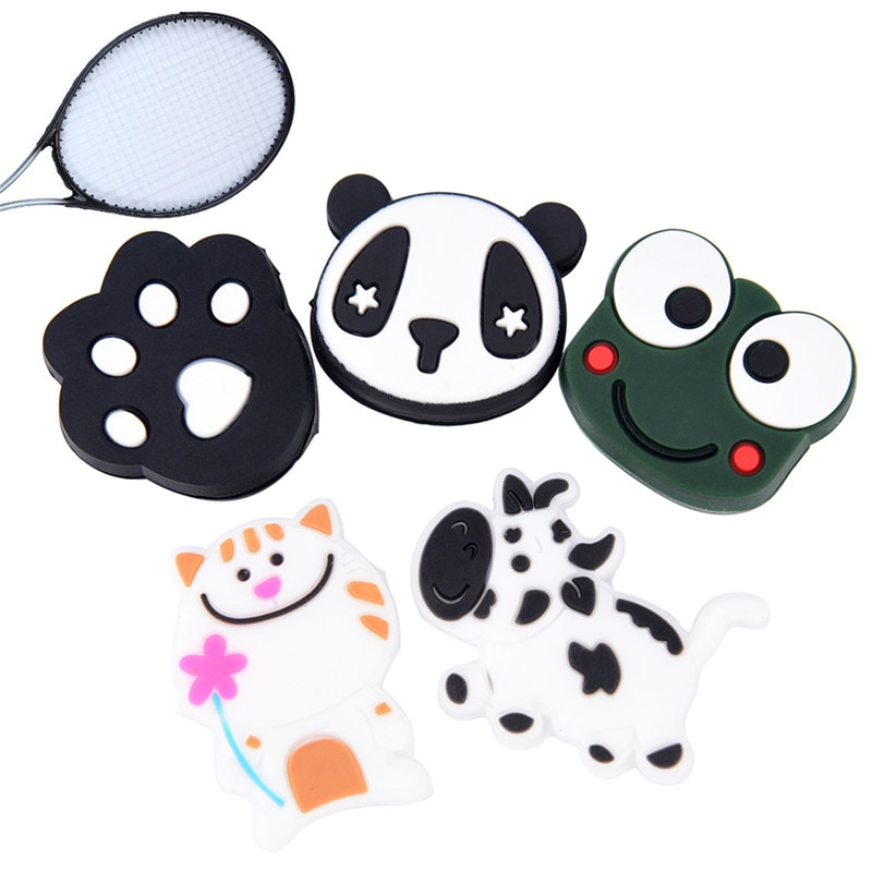 1pcs Anti-vibration Tennis Racket Damper Shock Absorber Cartoon Animals Multiple Pattern Soft Durable Vibration Dampeners