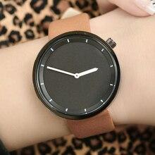 Bgg marca mujer reloj negro simple cara minimalista estilo unisex reloj de cuarzo relojes correa de cuero de las mujeres de moda dos agujas