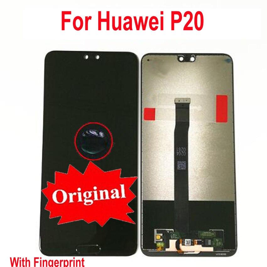 Assemblage Original de numériseur d'écran tactile d'affichage à cristaux liquides avec le capteur de bouton à la maison d'empreinte digitale pour Huawei P20 EML-L29 L22 L09 AL00