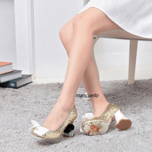 Unique Pink Glittering Sequins Sip-on Heels Cute Butterfly-knot Decorated Bride Groom Shape Doll Heel Pumps Wedding Shoes