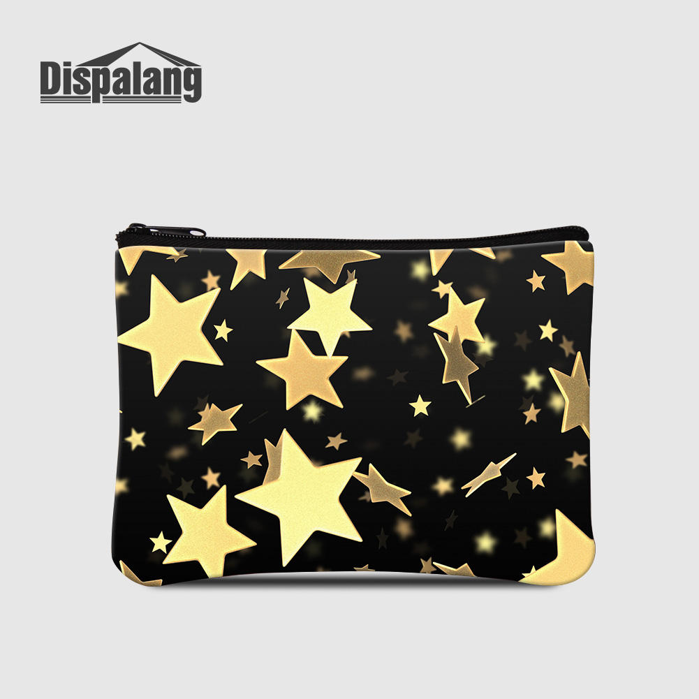 Dispalang Mini Wallet Coin Card Bags Gold Stars Printing Women Small Clutch Money Change Pouch Children Cute Portable Coin Purse new brand mini cute coin purses cheap casual pu leather purse for coins children wallet girls small pouch women bags cb0033