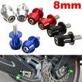 2 peças universal 8mm de alumínio braço oscilante carretéis sliders para honda CBR 600 900 RR Para Kawasaki Para Suzuki GSR 650 750