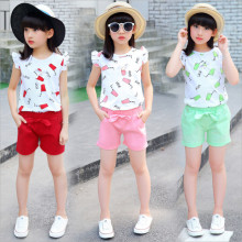 Wholesale 3-8T Children's Clothes Girls Clothing Set 2018 Summer New Casual O-neck Short Sleeve Pattern Suits 90-130