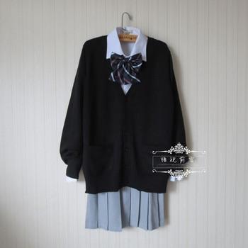 日本の学校制服スーツセット黒カーディガンセーター+固体白い長袖シャツ+ダークゲイリープリーツスカート