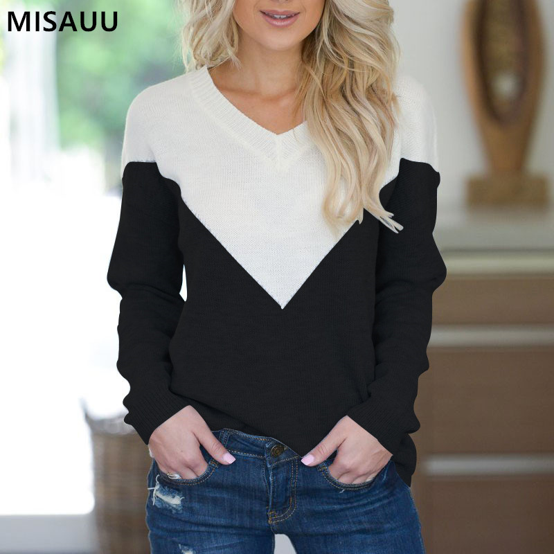 Misauu Contrast Color V Neck Winter Sweater Women 2019 Long Sleeve Jumper Sweater And Pullover Knitted Sweater Female Pull Femme